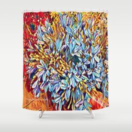 Blues Bouquet with Yellow and Red Shower Curtain