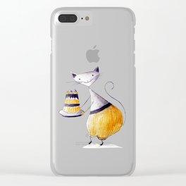 Greedy Cat Clear iPhone Case