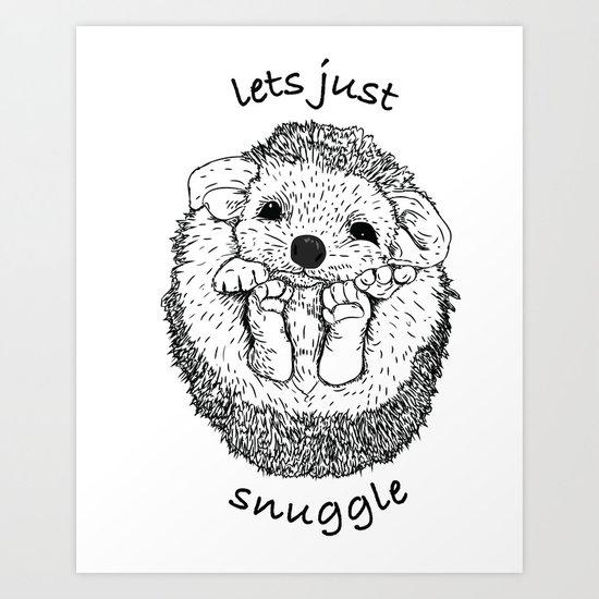 Hedgehog snuggle Art Print