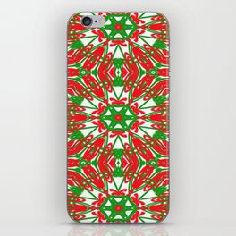 Red, Green and White Kaleidoscope 3376 iPhone Skin