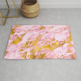 Pink and Vibrant Gold Sparkle Faux Marble Pattern Rug
