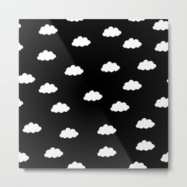 White clouds in black background Metal Print
