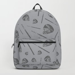 Music Guitar Picks and Drumsticks Gray Grey Backpack