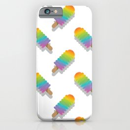 Trendy summer colorful rainbow popsicles pattern iPhone Case