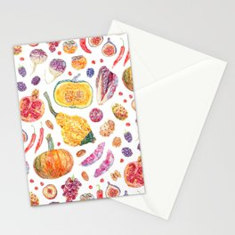 Autumn Harvest Pattern White Stationery Cards