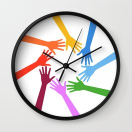 United Hands in Action Wall Clock