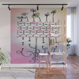 Flowers and Hearts Wall Mural