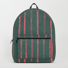 Modern Hand-painted Stripes in Bright Coral and Petroleum Green colors, Abstract Painting Backpack