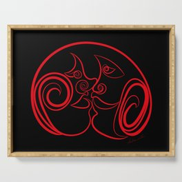 face to face red black Serving Tray