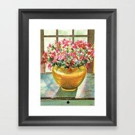 flowers in golden vase Framed Art Print