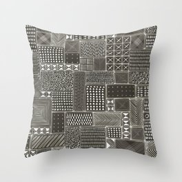 African Brown Tribal Mud Cloth Throw Pillow