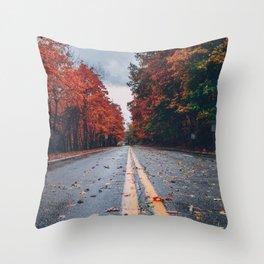 Foliage Drive Throw Pillow