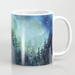 Galaxy Watercolor Aurora Borealis Painting Coffee Mug