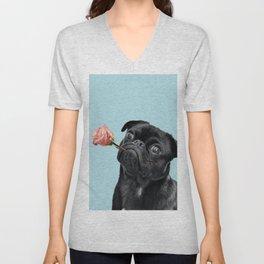 Sweet pug in blue Unisex V-Neck