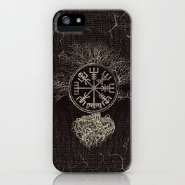 Vegvisir  and Tree of life  -Yggdrasil iPhone Case