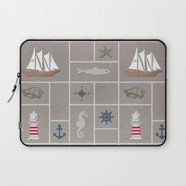 Nautical symbols on sandy background Laptop Sleeve