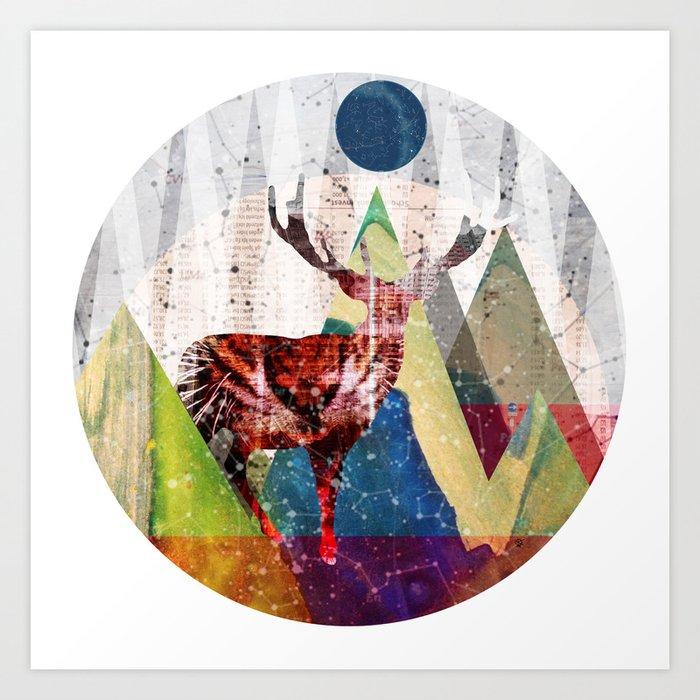 Wonder Wood Dream Mountains - Red Deer Dream Illusion 2 Art Print