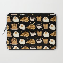 Breakfast Time Pattern on Black Laptop Sleeve