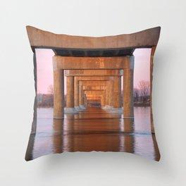 Twilight Bridge Pillars Throw Pillow