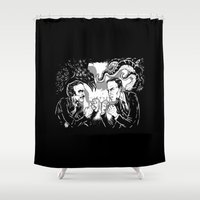 lovecraft Shower Curtains featuring Poe vs. Lovecraft by The Cracked Dispensary