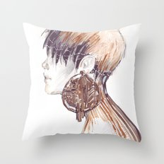 Fashion illustration profile portrait gold black white markers and watercolors Throw Pillow