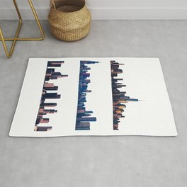 Chicago, New York, And Los Angeles City Skylines Rug