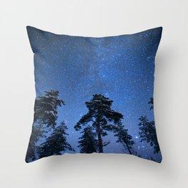 Shimmering Blue Night Sky Stars Throw Pillow
