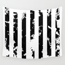 Splatter Bars - Black ink, black paint splats in a stripey stripy pattern Wall Tapestry