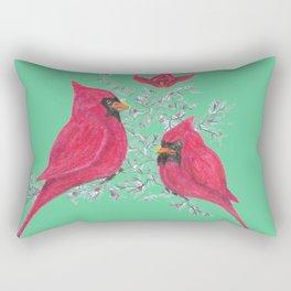 Three Cardinals And Berries Rectangular Pillow
