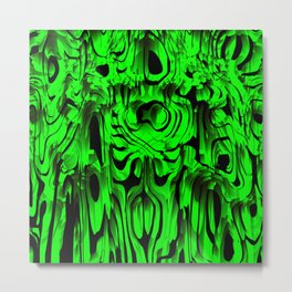 Colorful smudges of magical infinity from green lines and dark hypnotic fixation. Metal Print
