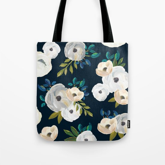 Midnight Florals - Blue & Cream Tote Bag