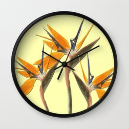 Three Paradise Flowers Strelitzia yellow R Wall Clock