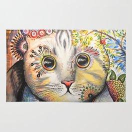 Smokey ... abstract cat art animal pet painting Rug
