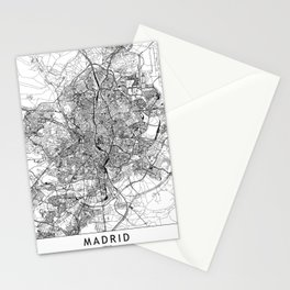 Madrid White Map Stationery Cards
