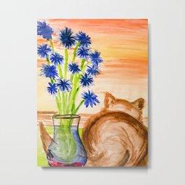 Cat with Corn Flowers Metal Print