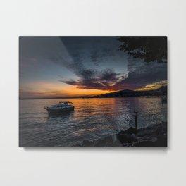 Montreux Lake Sunset Metal Print