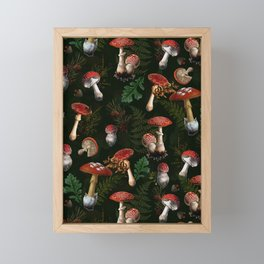 Vintage Dark Night Mushroom Forest Framed Mini Art Print