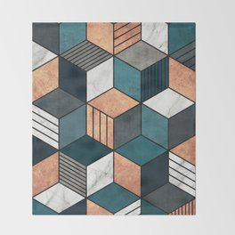 Copper, Marble and Concrete Cubes 2 with Blue Throw Blanket