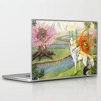 okami Laptop & iPad Skins featuring Okami Amaterasu by Keshi