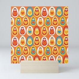 pattern orange blue red yellow Russian dolls matryoshka Mini Art Print