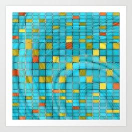 Block Aqua Blue and Yellow Art - Block Party 2 - Sharon Cummings Art Print