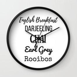 Tea List English Breakfast Chai Earl Grey Rooibos Darjeeling Wall Clock