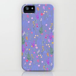 blue meadows colorful floral pattern iPhone Case
