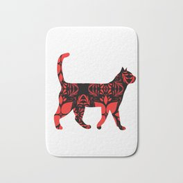 Red flower cat Bath Mat