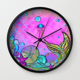 Pink Sparkly Sea Wall Clock
