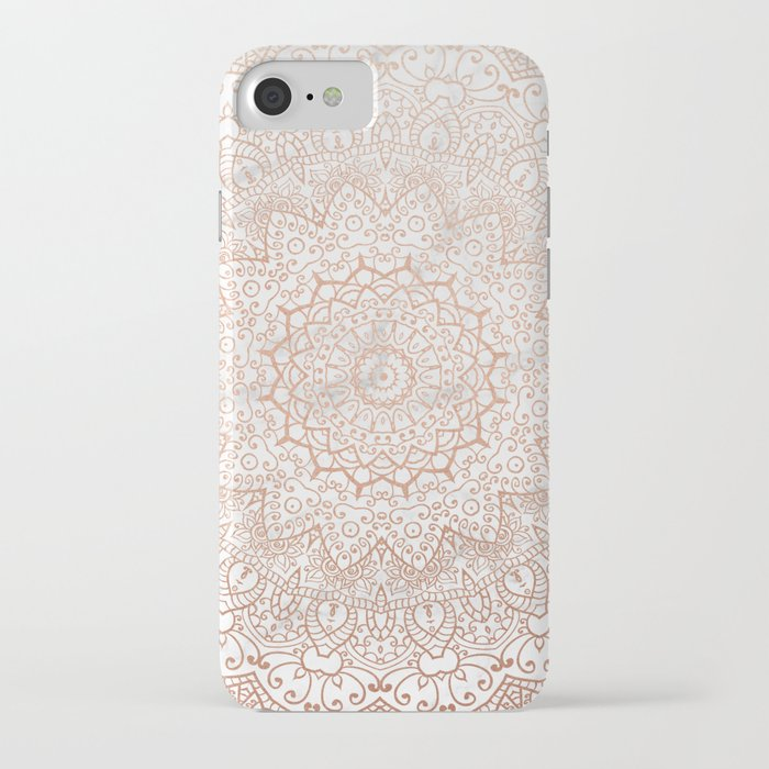 mandala - rose gold and white marble 3 iphone case
