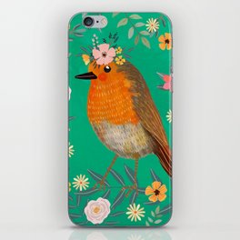 Robin Bird with flowers iPhone Skin