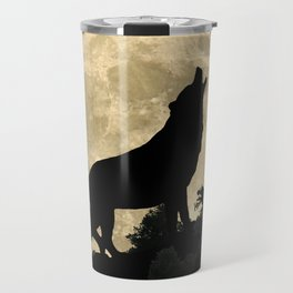 Wolf Howling at the Full Moon A303 Travel Mug