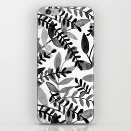 Watercolor branches - black and white iPhone Skin