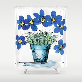 Seven Flowers (Blue): cheery original art in a loose style, simple flowers in a turquoise pot Shower Curtain